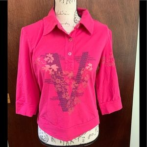 Versace hot pink collared shirt with mesh